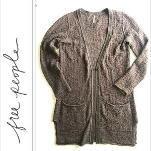 Free People Olive Brown Cardigan Sweater Duster M
